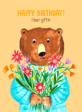 Birthday Bear Flowers