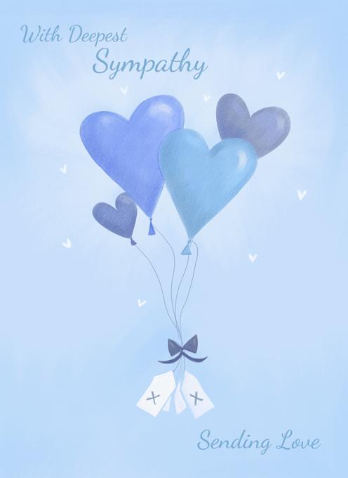 Sympathy Blue Heart Balloons