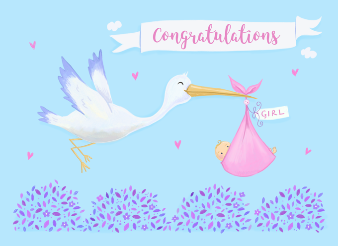Baby Girl Birth Congratulations Stork