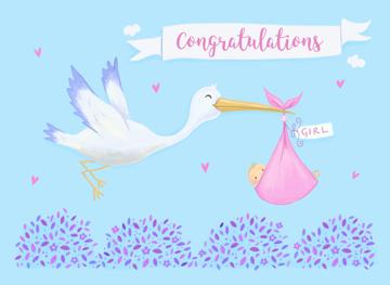 Baby Girl Birth Congratulations Stork