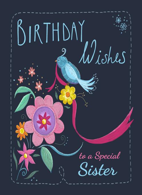 Sister Birthday Blue Bird Floral