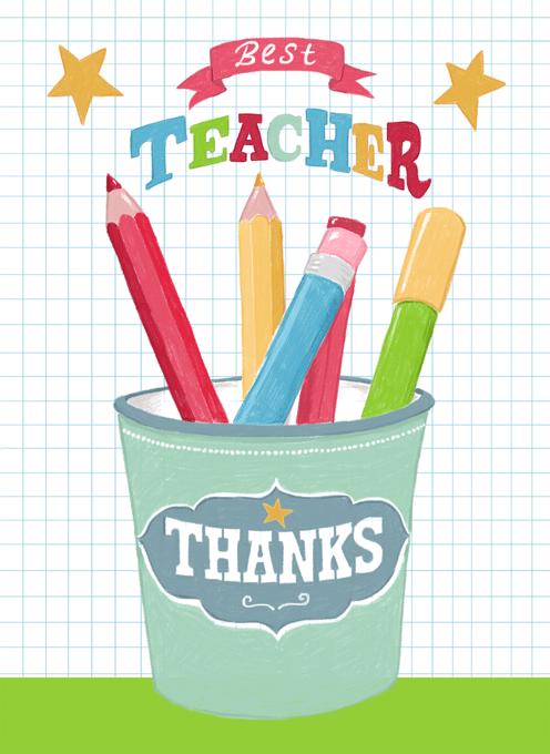 Teacher Thank You Pencil Pot Card Design