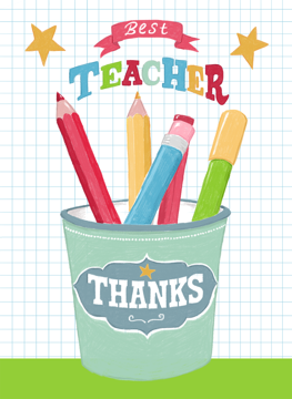 Teacher Thank You Pencil Pot Card Design