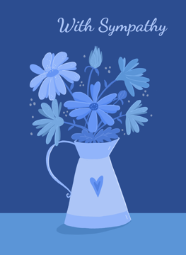 With Sympathy Blue Floral Heart Pitcher