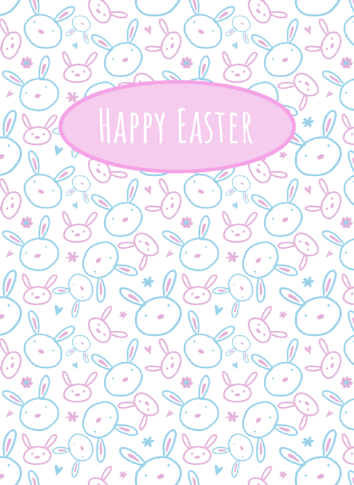 Happy Easter Bunny Face Pattern