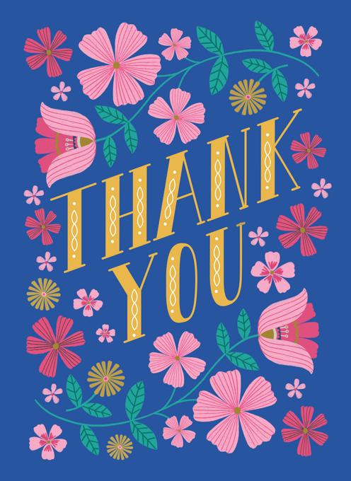 Folk Floral Thank You card