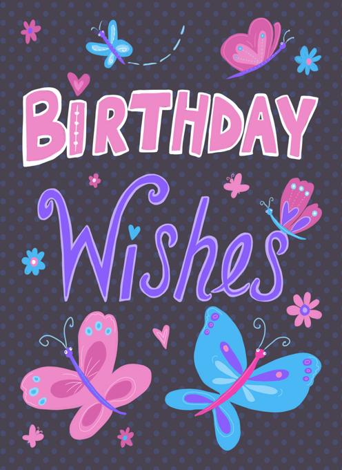 Birthday Wishes Girly Butterflies