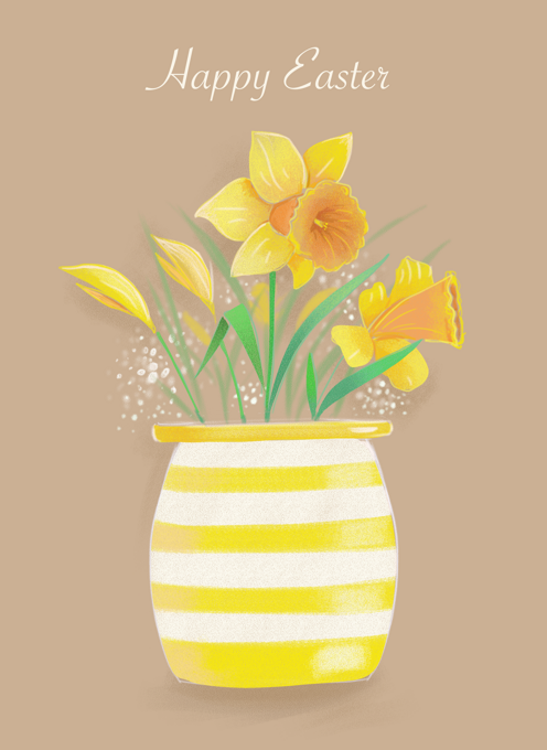 Happy Easter Daffodil Flowers