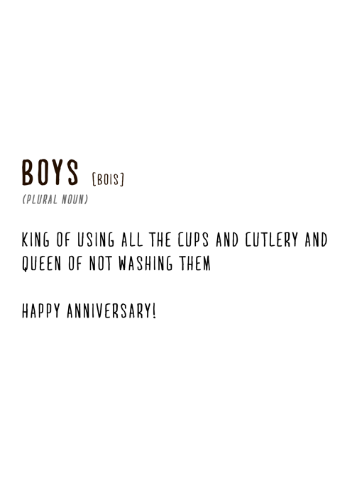 Boys, Anniversary Definition