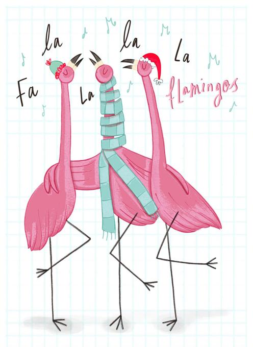 Carolling Christmas Flamingos