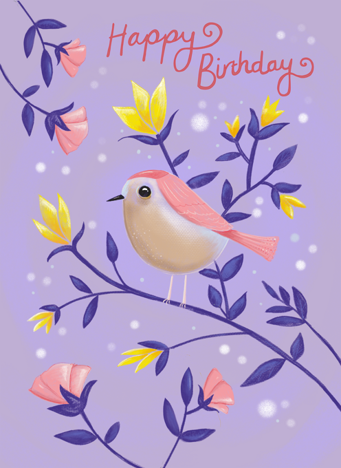 Birthday Lilac Bird Floral