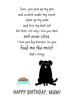 Black Dog Mum Birthday
