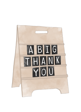 A Big Thank You Sign