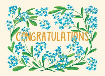 Congrats Blue Flowers