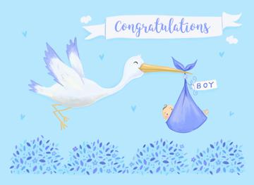 Baby Boy Birth Congratulations Cute Stork