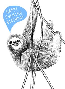 Swearing Birthday Sloth