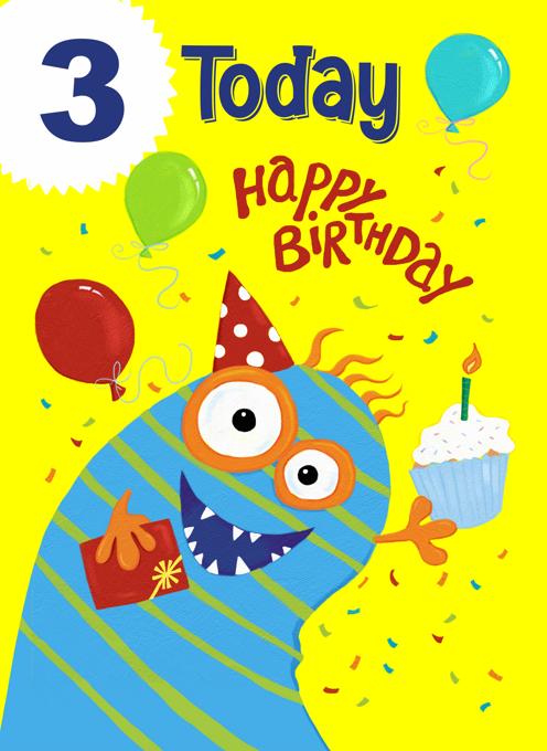 Age 3 Birthday Monster