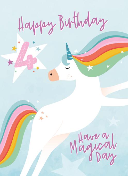 Rainbow Unicorn 4th Birthday Card