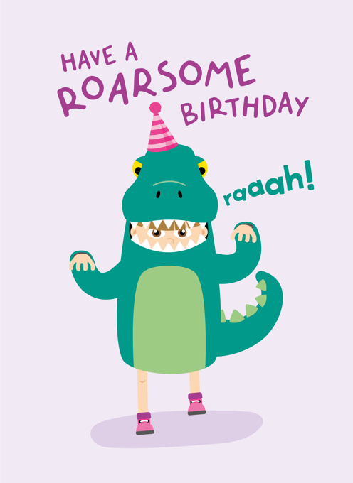 Dinosaur Girl Birthday Card