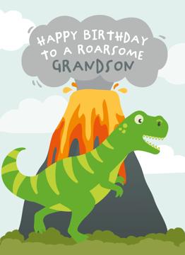 Dinosaur Birthday Card Grandson