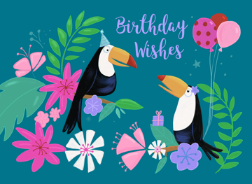 Tropical Toucan Birds Birthday Wishes