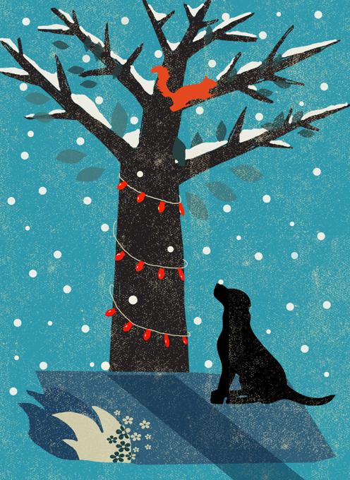 Labrador & Tree Christmas Card