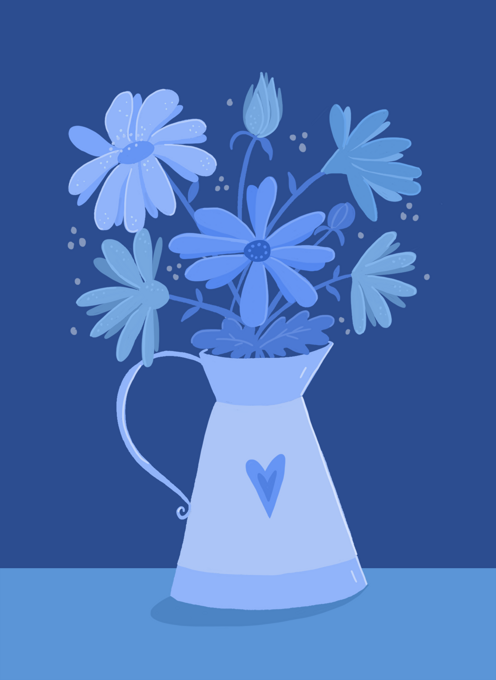 Blue Floral Pitcher - Any Occasion