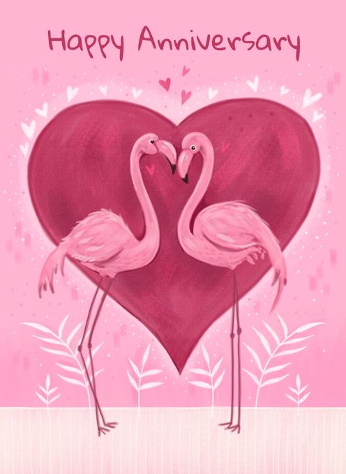 Anniversary Flamingos Heart
