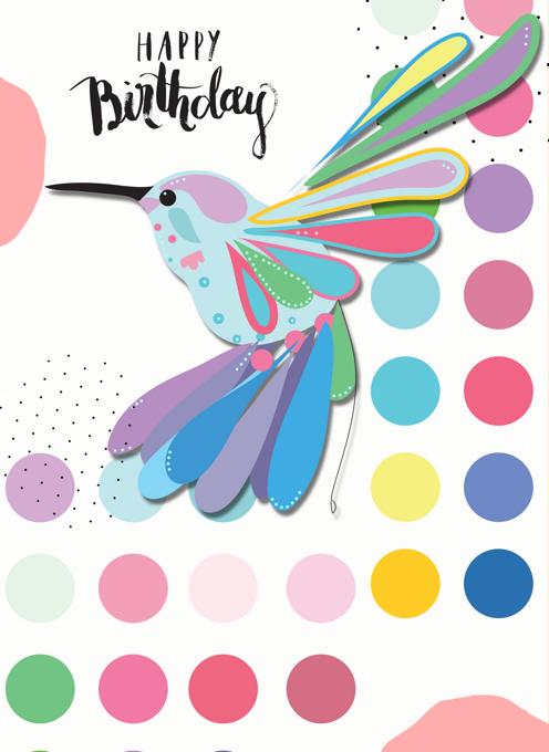 Colourful, Bold, Happy Hummingbird Birthday Card