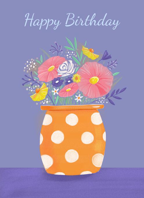 Birthday Flowers in Orange Spotty Vase