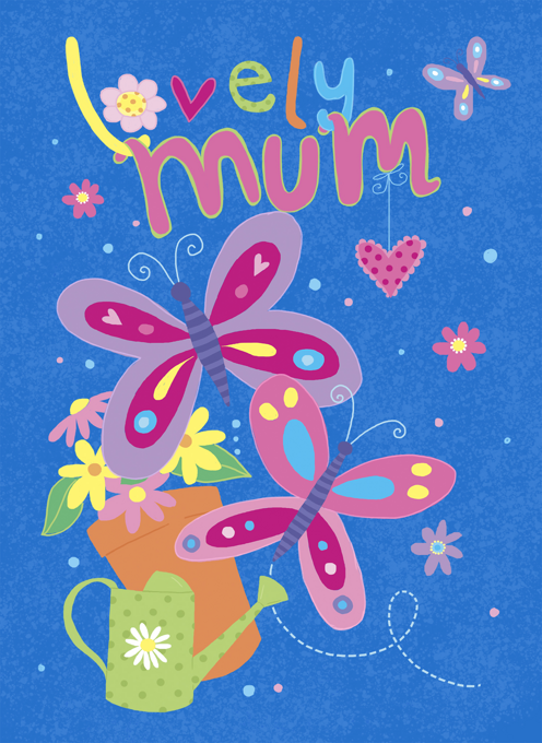Lovely Mum Butterfly & Watering Can Card Design