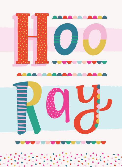 Hooray Fun Typography Card
