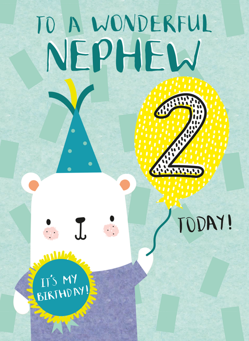 Nephew Happy Second Birthday Bear Card