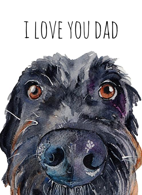 Scruffy Black Dog Card for Dad