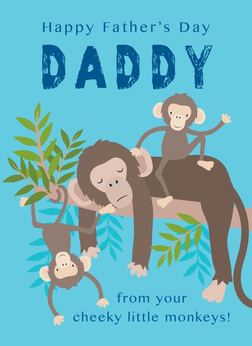 Daddy Two Cheeky Monkeys