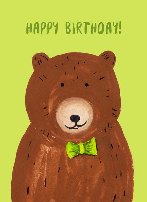 Birthday Bowtie Bear - Happy Birthday