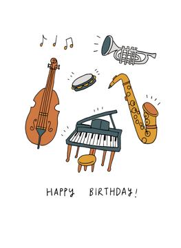 Happy Birthday Jazz Music Card