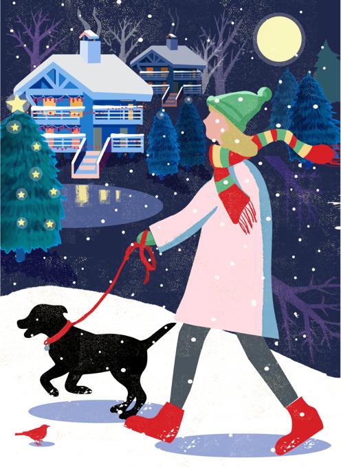 Christmas Labrador Puppy Walk