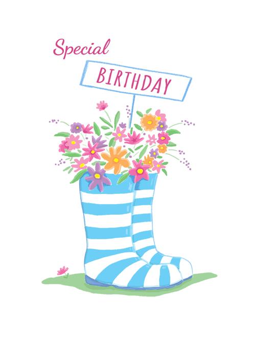 Birthday Wellie Boot Flowers