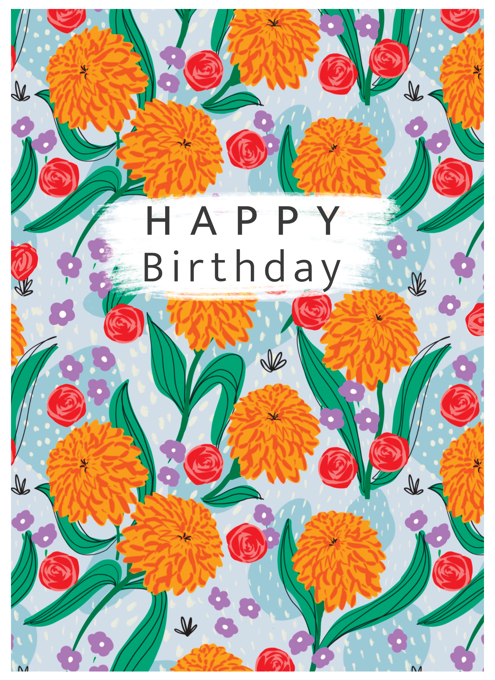 Happy Birthday Marigold Pattern