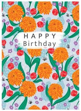Happy Birthday Marigold Pattern