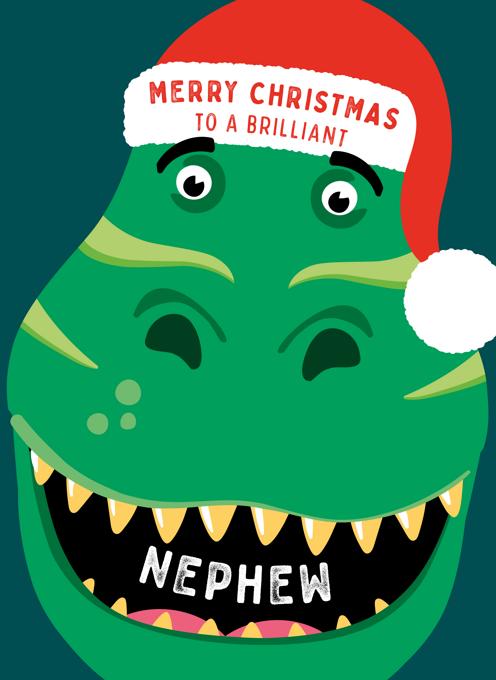 Dinosaur Christmas Card for Nephew