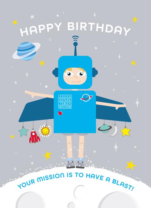 Space Boy Birthday Card