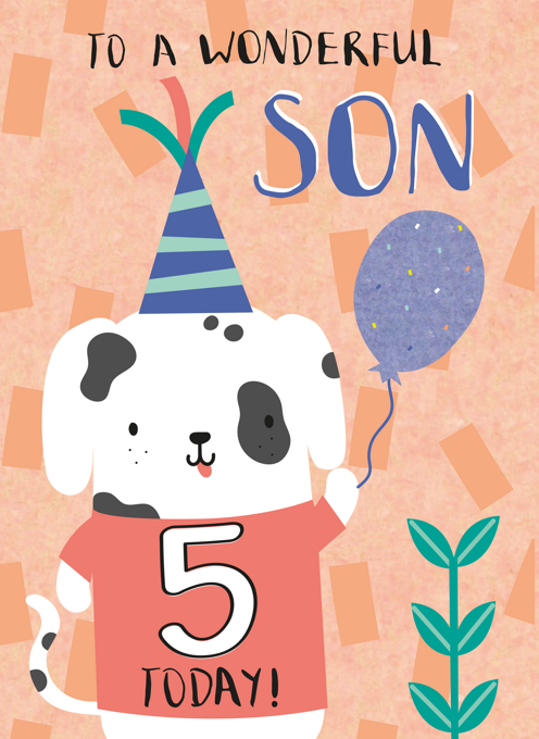 Son Happy Fifth Birthday Puppy Card