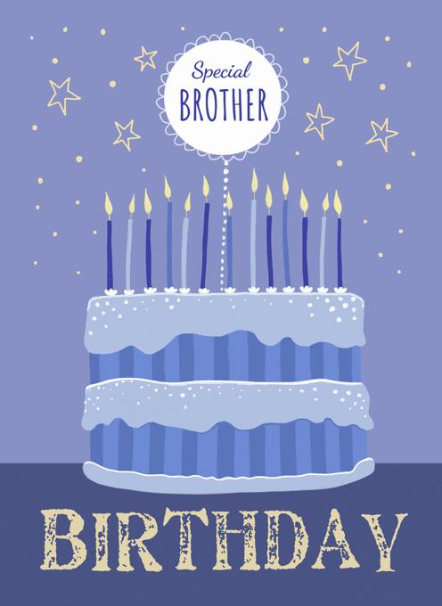 Brother Birthday Modern Blue Cake