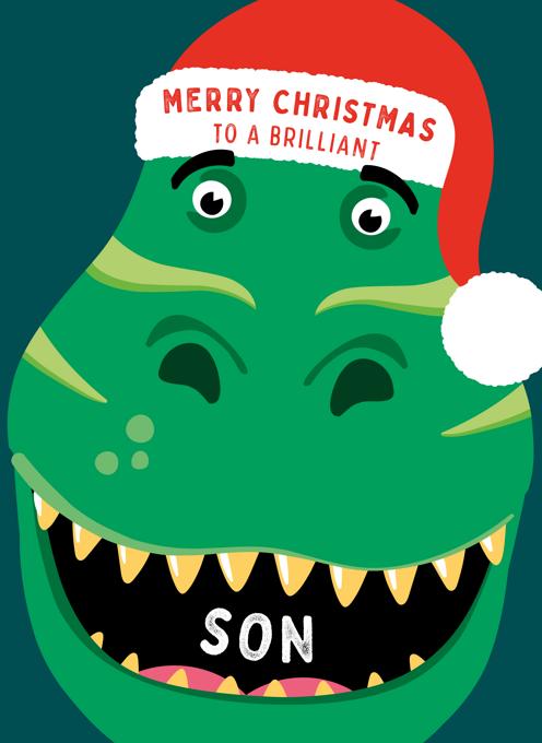 Dinosaur Christmas Card For Son