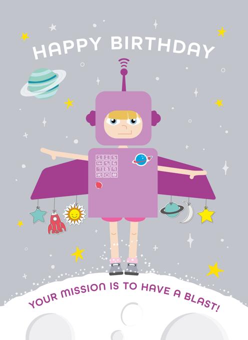 Space Girl Birthday Card