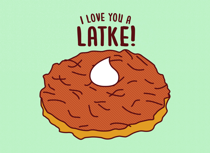 Love You a Latke Hanukkah Card