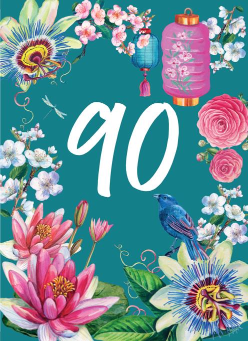 90th Floral Decorative Birthday Card