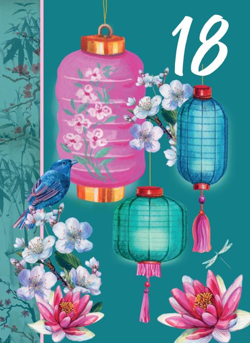 18th Floral Decorative Birthday Card